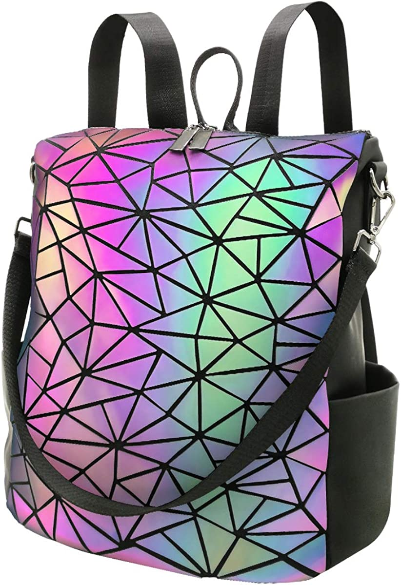 PYFK Geometric Backpack Luminous Holographic Color Changes Flash Reflective Crossbody Bag Fashion Shoulder Bag