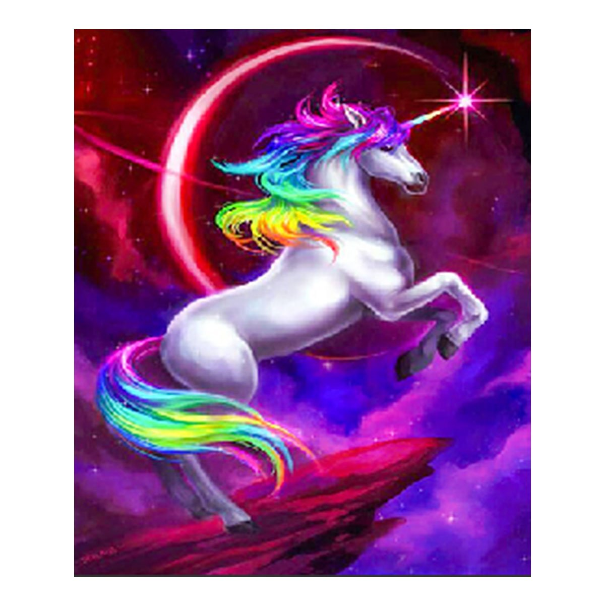 5D Full Drill Painting by Number Diamond Painting Kits for Home Decoration, 10x12 Inches Unicorn Rhinestone Embroidery Cross Stitch for Family Activities and Emotional Adjustment eZAKKA