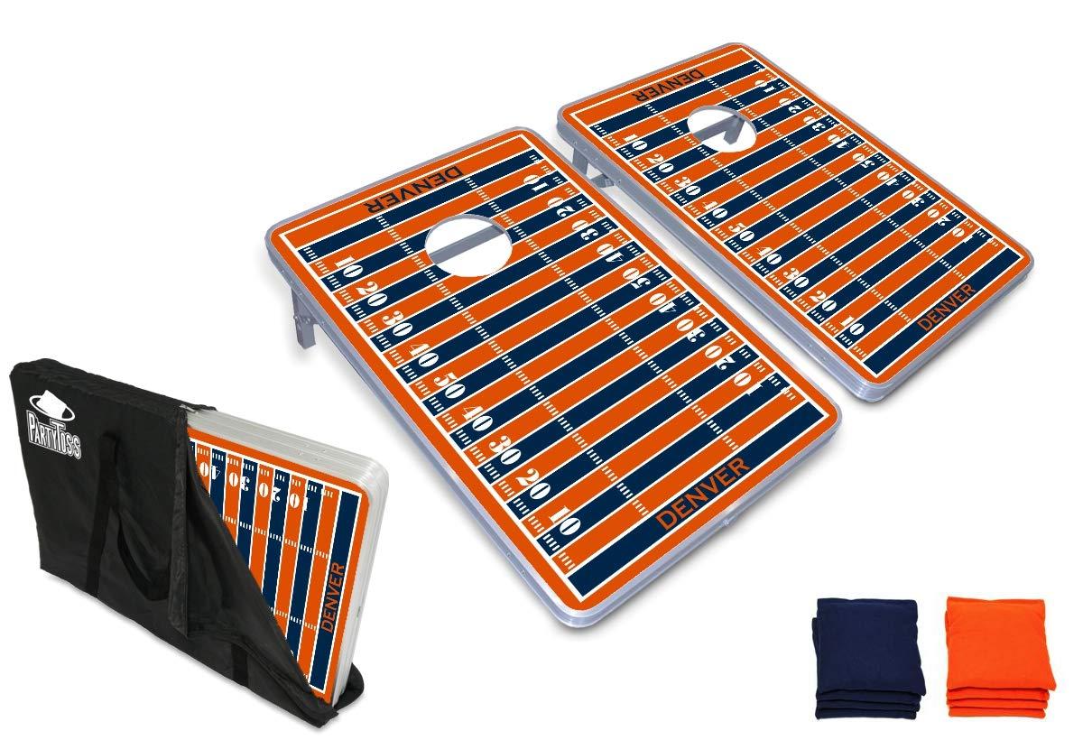 PartyPongTables.com デンバー フットボール 3フィート x 2フィート アルミニウム コーンホール ゲームセット - LEDライト - 頑丈なアルミニウムフレーム - 厚板表面 B07HD2GKKW  ベースモデル