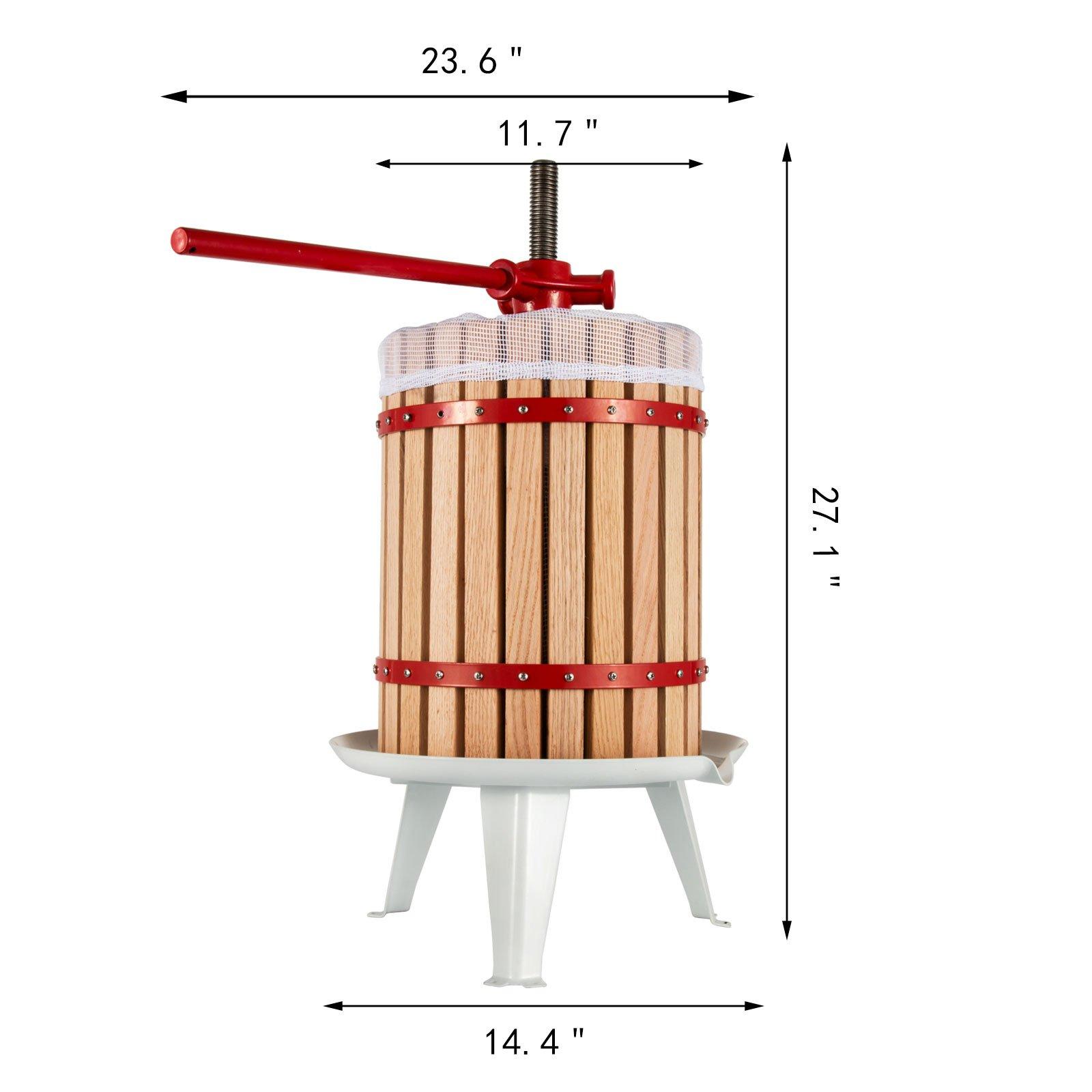 OrangeA 4.7 Gallon Fruit and Wine Press Solid Wood Basket Fruit and Wine Manual Press Press Cider Apple Grape Crusher Juice Maker (4.7 Gallon) by OrangeA (Image #2)