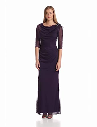 Adrianna Papell Women's 3/4 Sleeve Draped Shoulder Gown, Aubergine, 4