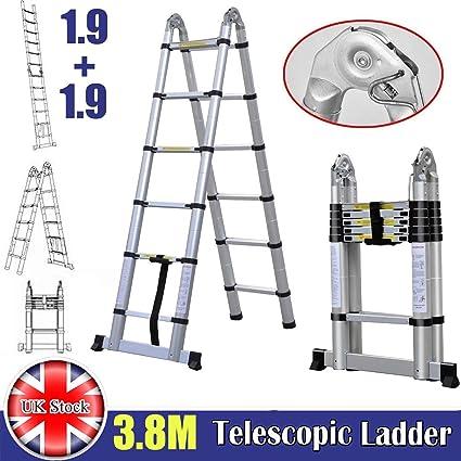 Escalera telescópica plegable con marco en A de 3,8 m, 1,9 m más 1,