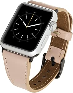 Venito Messina Leather Slim Watch Band Compatible with Apple Watch 38mm 40mm - Strap Designed for iwatch Series 1 2 3 4 5 6 (Nude Pink w/Black Connector&Clasp)