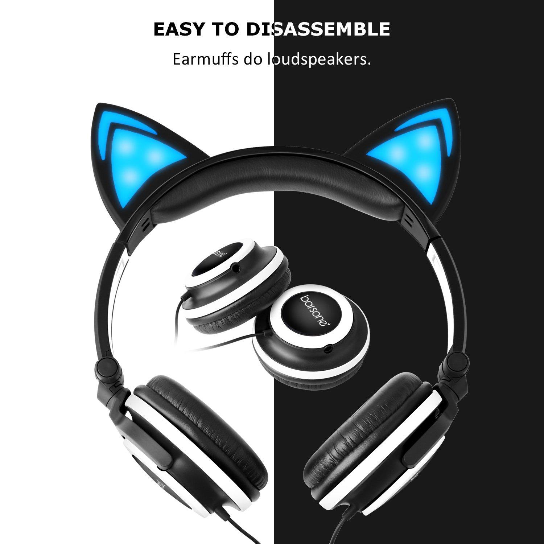 Barsone Cascos Brillanate Como Orejas de Gato para Los Niños, Auriculares de Diadema Plegables con Luz LED para Casi Todos Los 3.5mm Dispositivos de Interfaz (Negro)