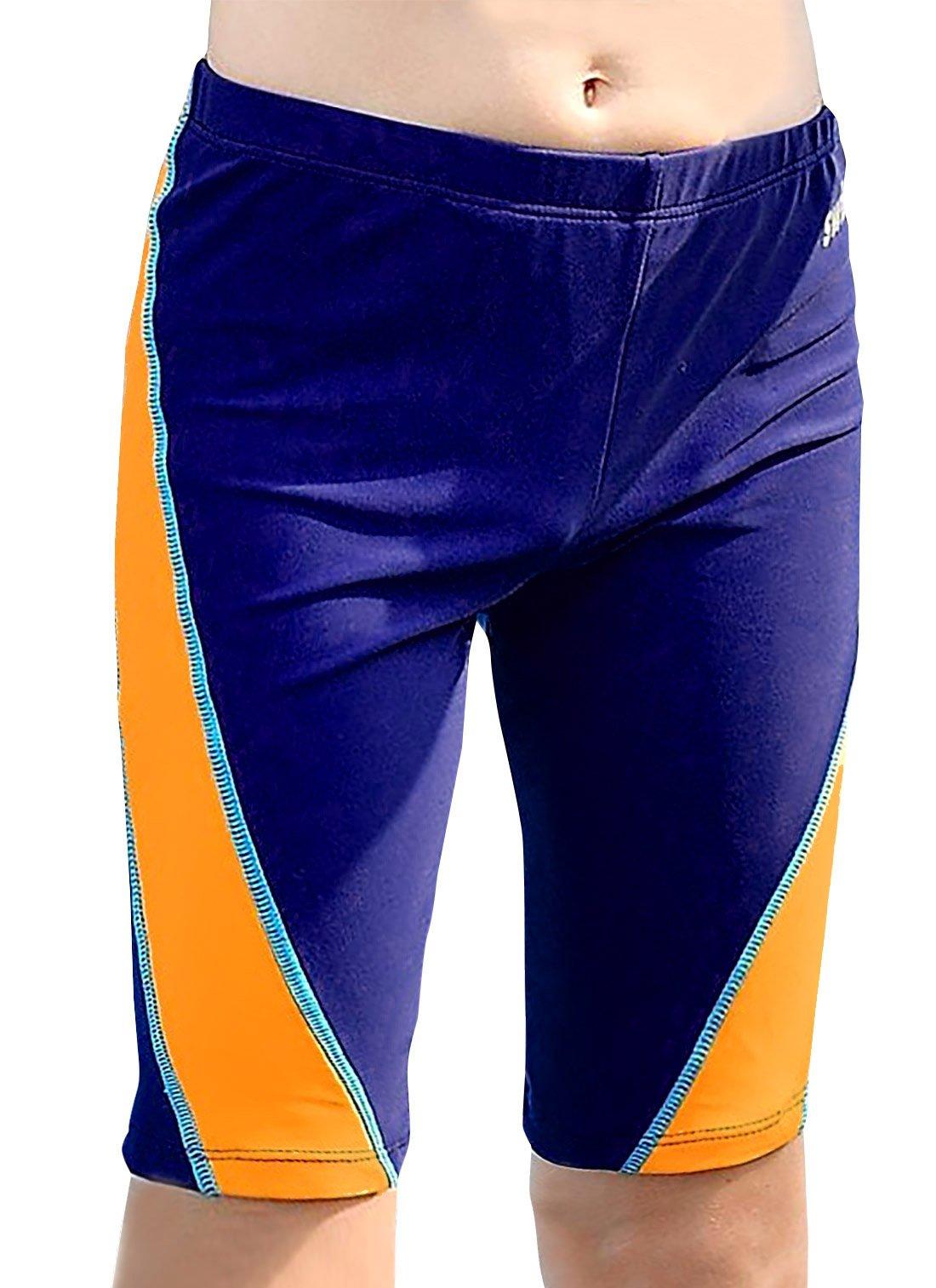 Aivtalk Big Boys Jammer Swimsuit Splice UPF 50 Drawstring Mesh Lined Elastic Waistband Durable Swimshorts 10-12T Blue