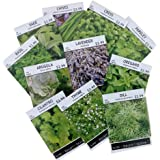 Sow Right Seeds - Non GMO Heirloom Culinary Herb Seed Collection - Arugula, Basil, Chives, Cilantro, Cress, Dill, Lavender, Oregano, Parsley, Sage & Thyme; Full planting instructions; Easy to grow