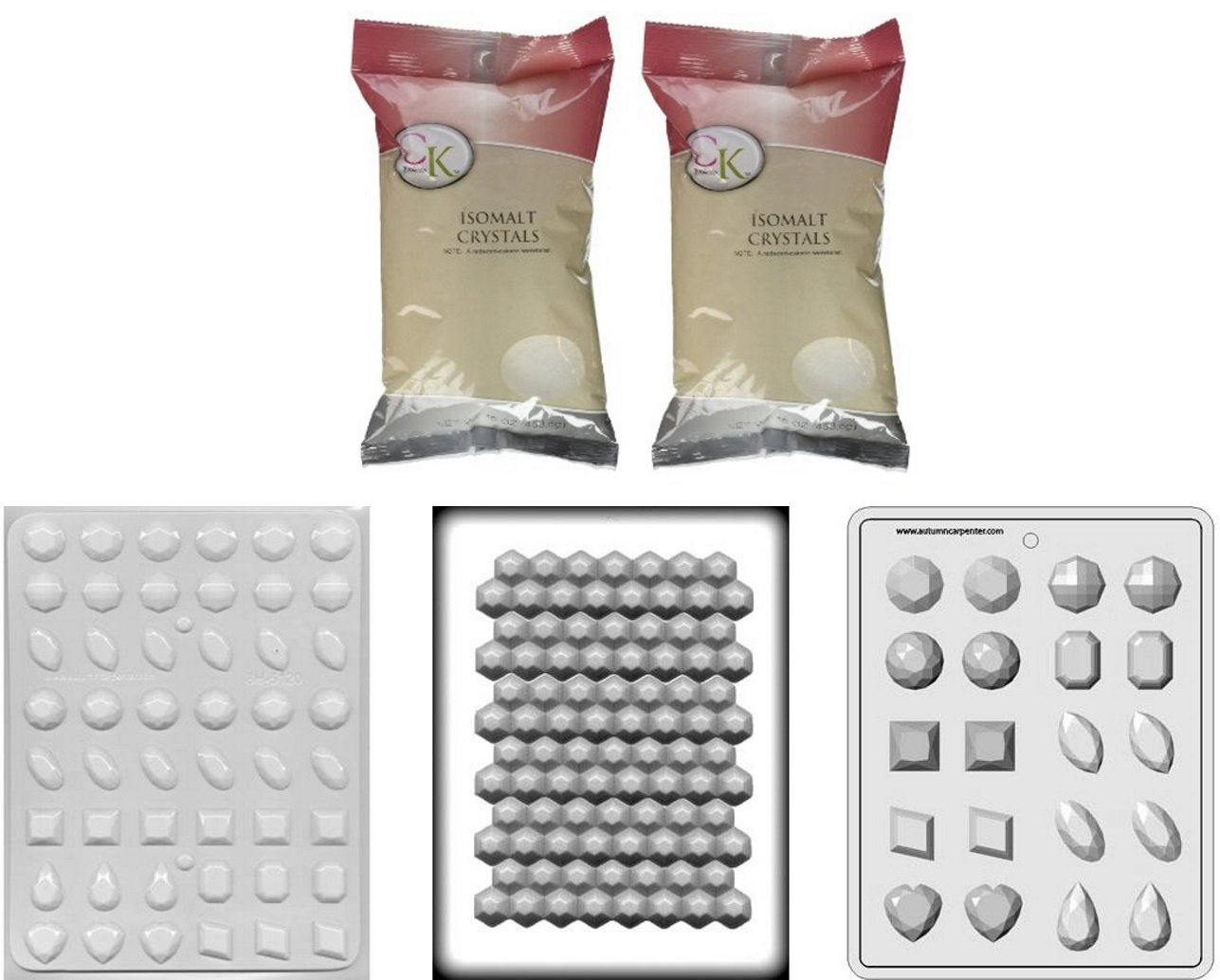 Isomalt Crystals with 3 Jewel Gem Molds - Large, Medium, and Break-apart Hard Candy Molds by Taradactile (Image #1)