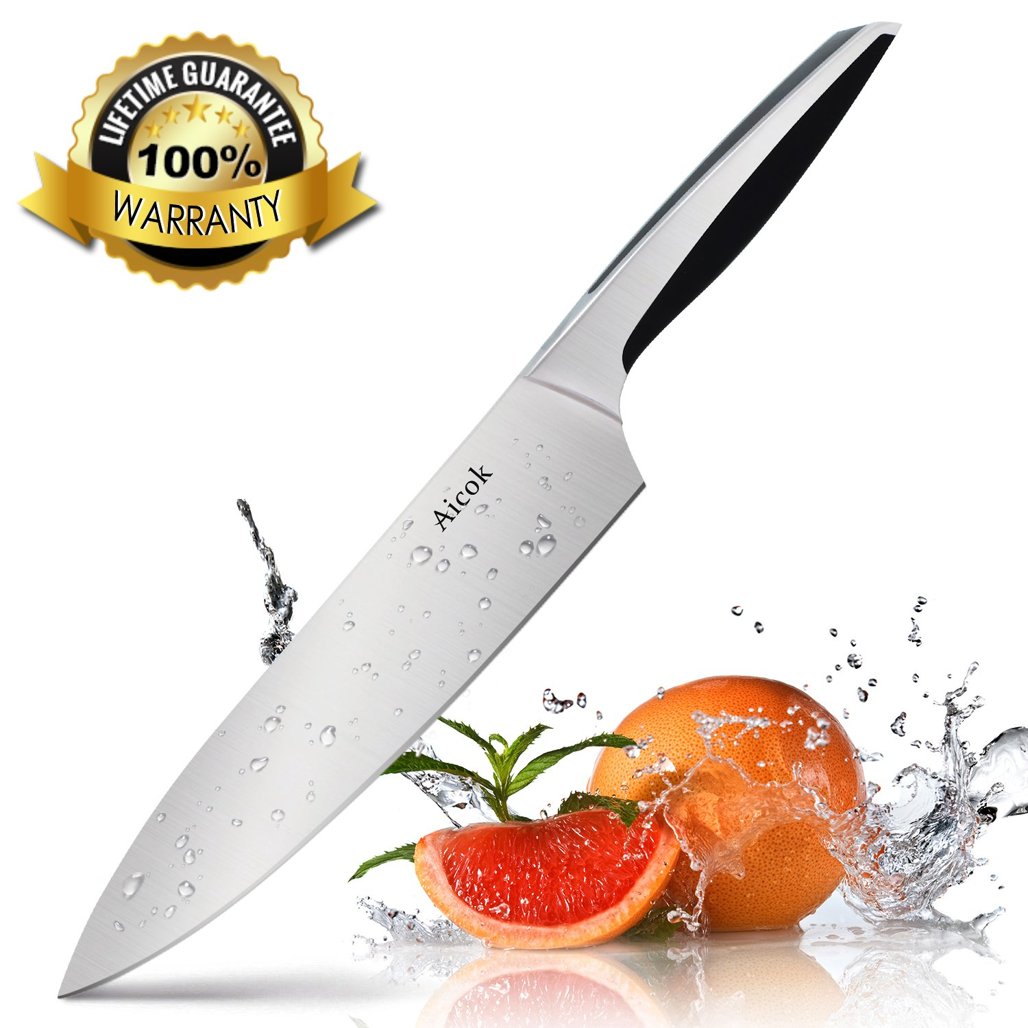 Aicok Chef Knife Pro Kitchen Knife 8-inch High Carbon German Stainless Steel Razor Sharp Blade and Ergonomic Handle by AICOK (Image #1)