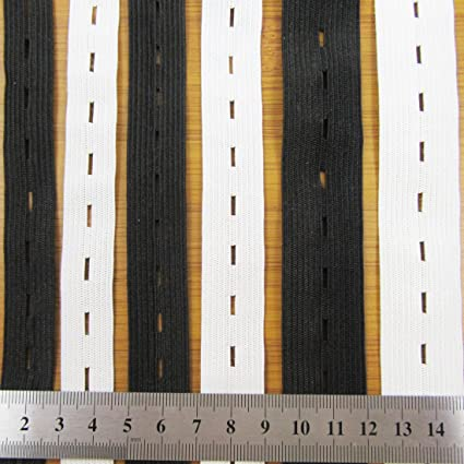 Button Hole Flat Woven Elastic 25mm 1 Meter Tape for Clothing Sewing Adjustable