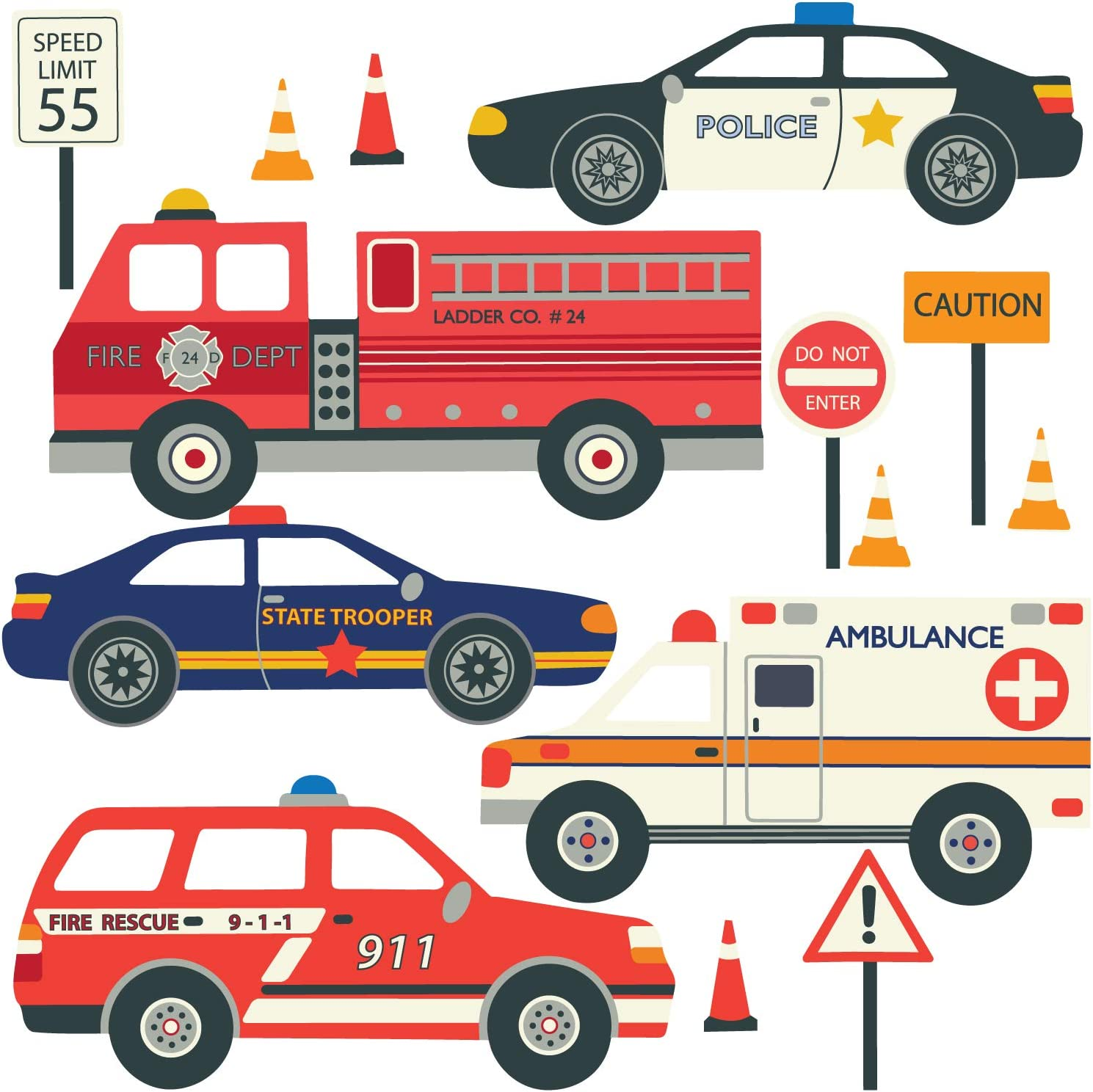 RESCUE VEHICLES Wall Decals Police Firetruck Bus Ambulance Room Decor Stickers