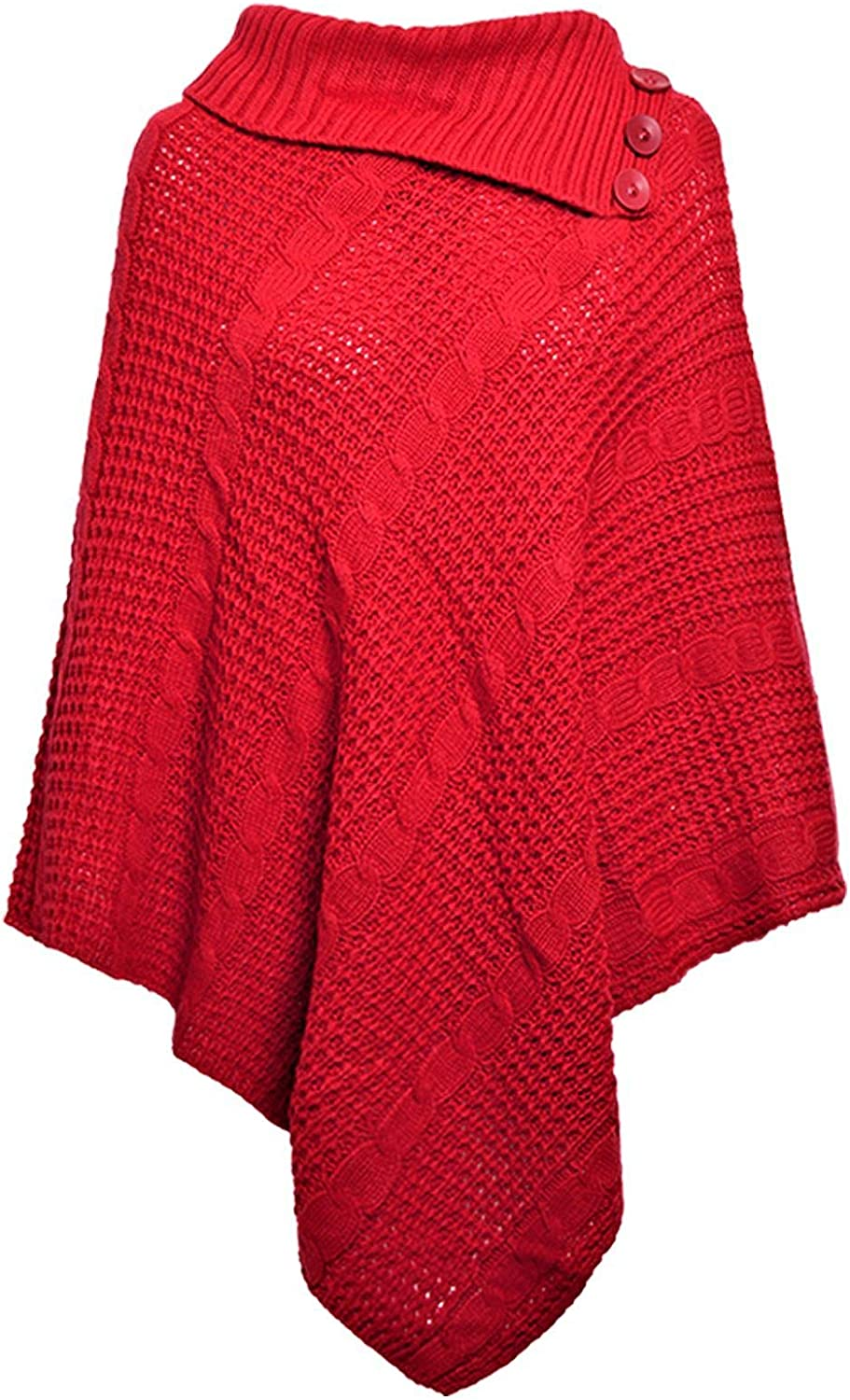 Red Olives/® Womens Ladies Cable Knitted 3 Button Poncho Winter Cape Wrap Shawl Jumper UK 8-14
