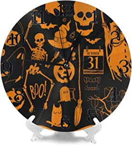 Wall Clocks Halloween Ghost Pumpkins Skull Silent Non Ticking Digital Wall Clock Battery Operated Round Clocks for Kids Kitchen Bathroom Living Room Decorative School Home Bedroom Office