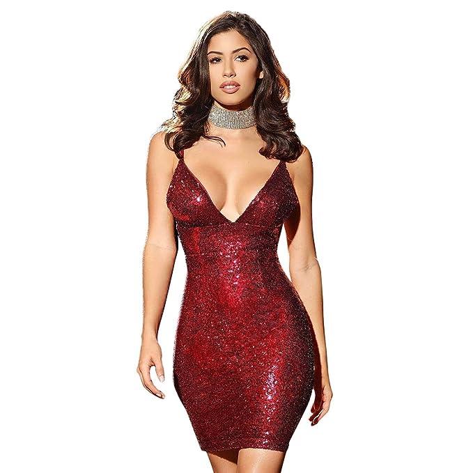 2cc5b74c osierr6 Women's Deep V Neck Sequin Glitter Bodycon Stretchy Spaghetti Strap  Mini Club Party Pencil Dress