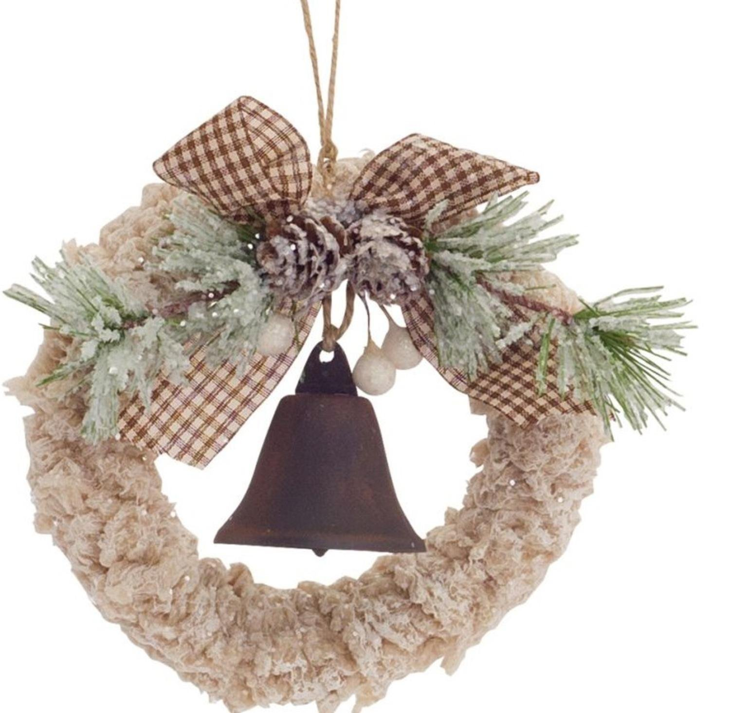 Pack of 12 Wintry Cream and Brown Wreath with Bell Ornament