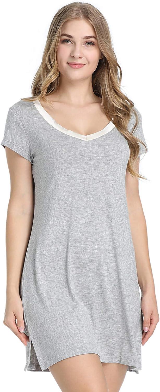 Joyaria Womens Soft Bamboo Short Sleeve V-Neck Nightgown Night Shirt Sleep Dress
