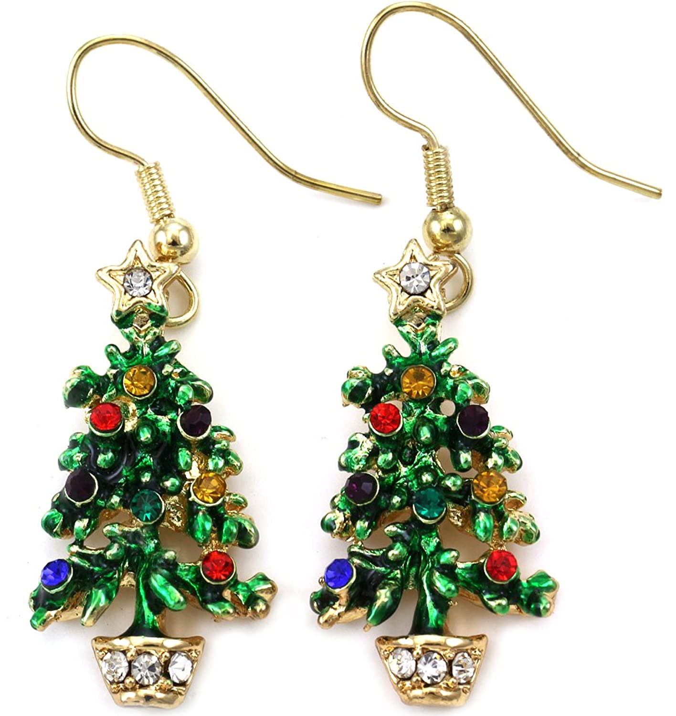 Amazon Com Happy Colorful Christmas Tree Earrings Hoop Dangle  - Make Christmas Tree Earrings