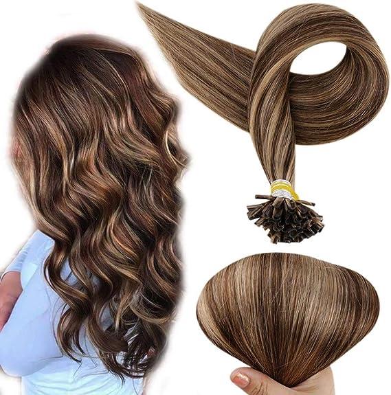 Full Shine 18 Pulgadas Extensiones de Pelo Bondings Remy Pelo de Garantía de U Tip Nail Human Hair Extensions #3 Marrón Medio Highlight #27 Caramelo ...