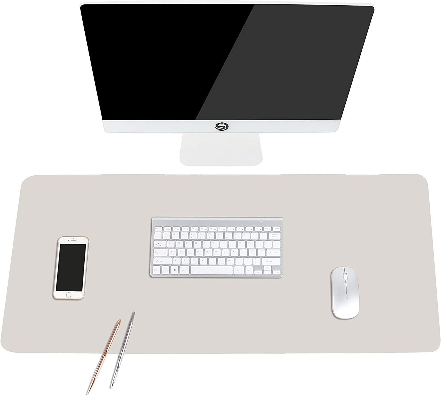 "Non-Slip Desk Pad, Waterproof PVC Leather Desk Table Protector, Ultra Thin Large Mouse Pad, Easy Clean Laptop Desk Writing Mat for Office Work/Home/Decor(Apricot Gray, 35.4"" x 17"")"