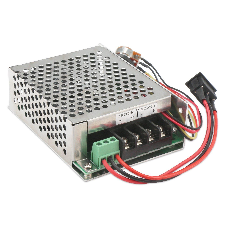 PWM Motor Controller, DROK DC Motor Driver DC 10-50V 12V 24V 36V 48V Motor Monitor Control Module 40A 2000W with PLC Forward Reverse Regulator Switch Protective Case