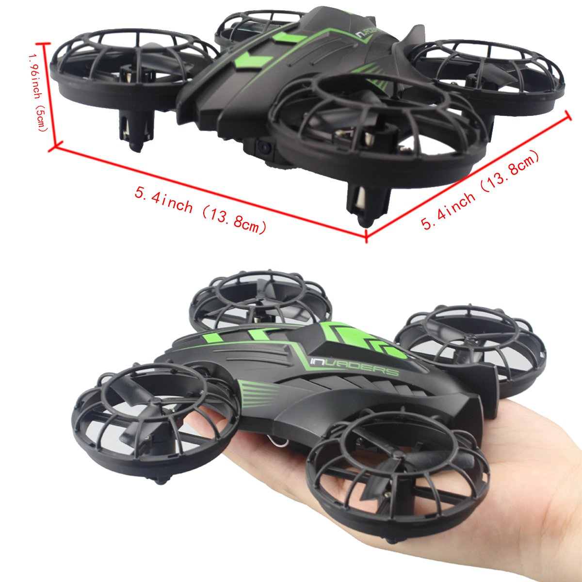 Fistone RC Drone WIFI FPV Quad-rotor 2.4G 4-Axis Gyro Altitude Hold Helicopters Portable Aircraft 3D Flip Remote Control UFO Exploration multirotors HD Camera Electronic Hobby Toys(Green)