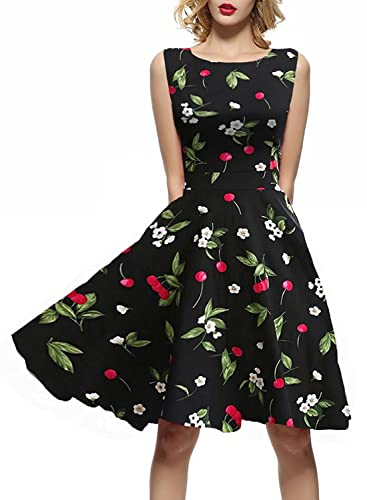 IHOT Vintage 1950's Summer Floral Garden Party Picnic Dress Party Cocktail Dress for Women