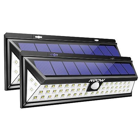 Mpow - Juego de 2 focos solares exterior con 54 bombillas LED, impermeables IP65, 1188 lumens, ...