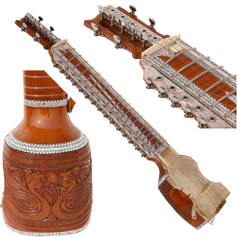 Dilruba With Fiber Hard Case, Pro Quality, Total Machine Head Tuning, 4 Main & 15 Sympathetic String, Tun Wood, Beautiful Craft Work, Sweet Sound, Natural Wood Colour, With Bow, Extra String & Rosin