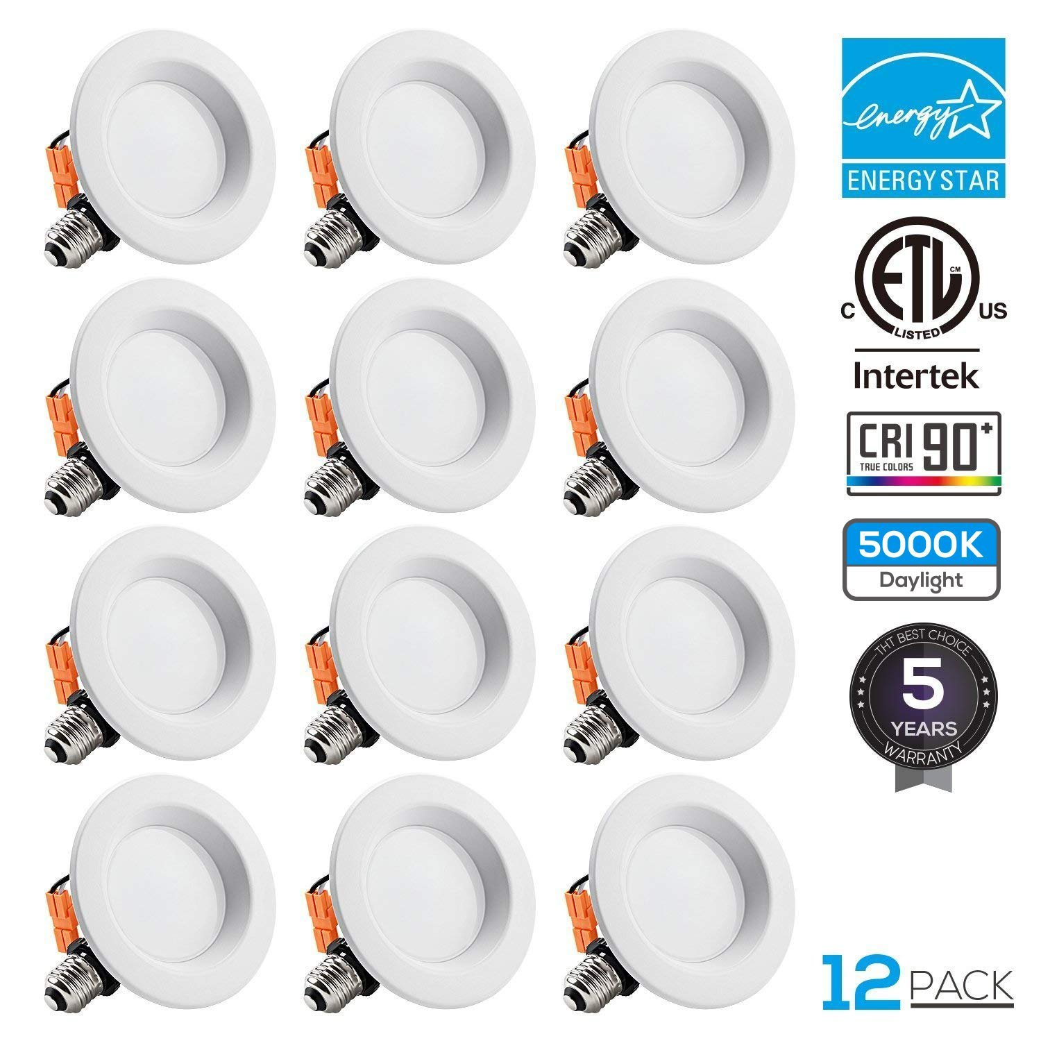 TORCHSTAR 12-Pack 4 inch Dimmable Recessed LED Downlight, 10W (65W Equivalent), CRI 90+, Energy Star, 5000K Daylight, 700lm, LED Retrofit Lighting Fixture, 5 Years Warranty by TORCHSTAR (Image #1)