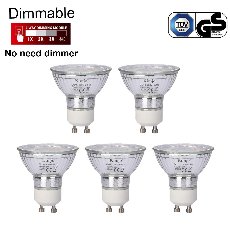 Bombillas LED GU10 Regulable Kimjo 6W Blanco Natural 4000K Equivalente a 75W Halógena, 550LM 82Ra Foco GU10 120 ° Ángulo de haz 5 Pack