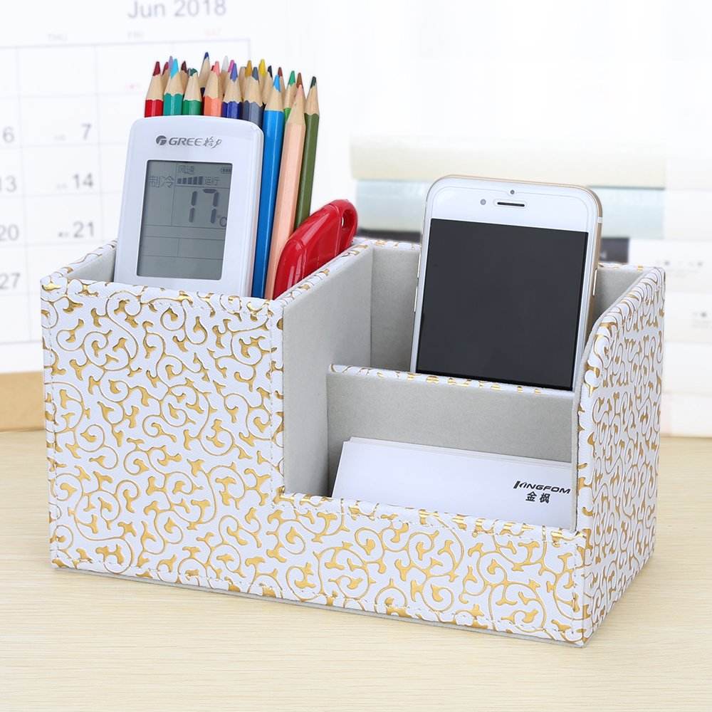 KINGFOM Leatherette Desk Organizer Pen/Pencil/ Remote Control/Cell Phones/Brushes Holder Office Container Storage Box (S-Gold&White) by KINGFOM (Image #2)