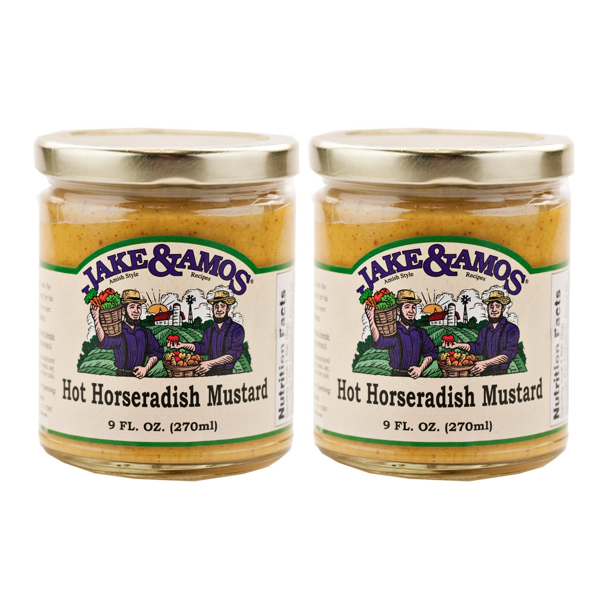 Jake & Amos Hot Horseradish Mustard / 2 - 9 Oz. Jars by Jake & Amos