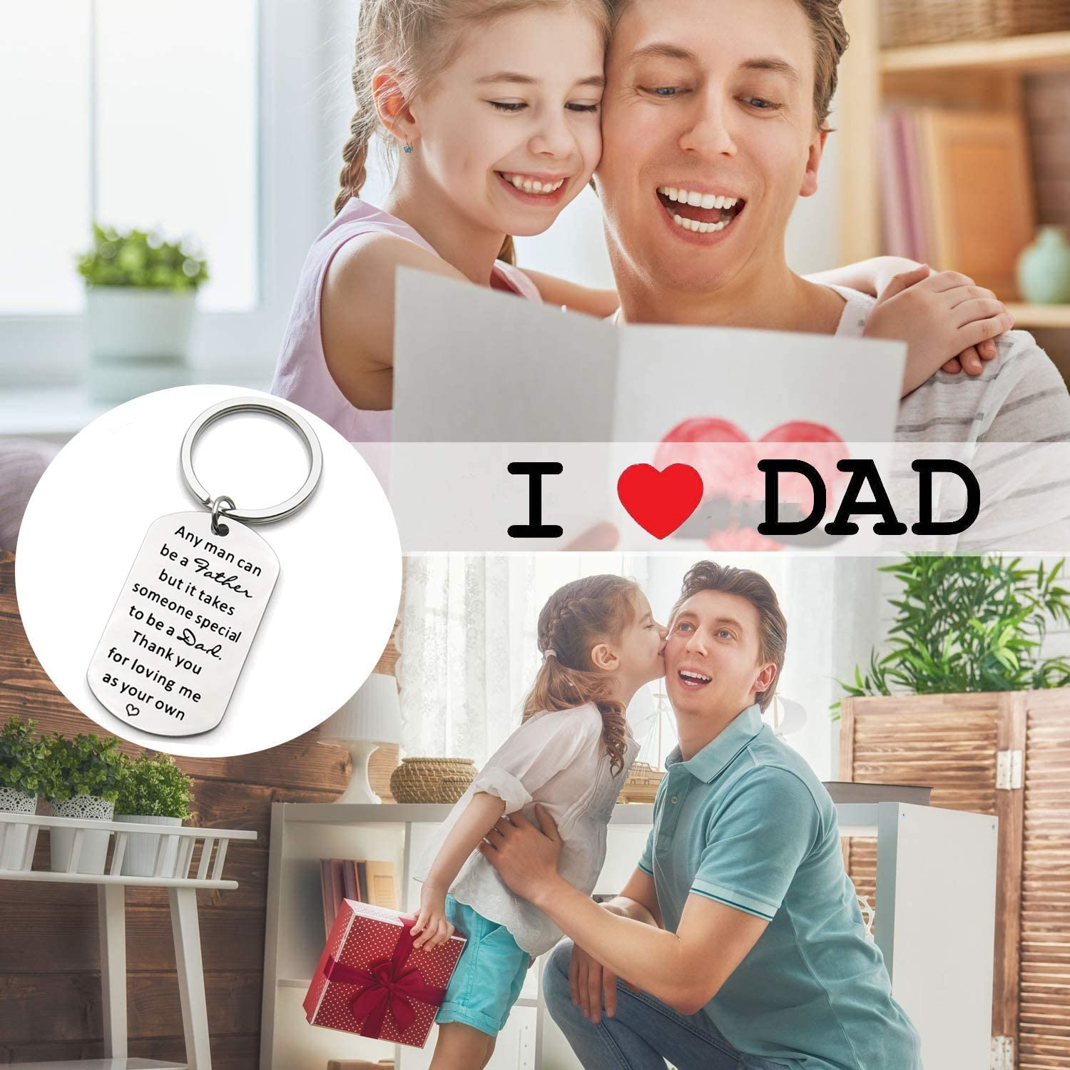 Personalized Stainless Steel Key Ring Dog Tag for Men New Father in Law from Daughter Son Thanksgiving Birthday Wedding Christmas Valentines Day Presents Step Dad Father/'s Day Gifts Keychain