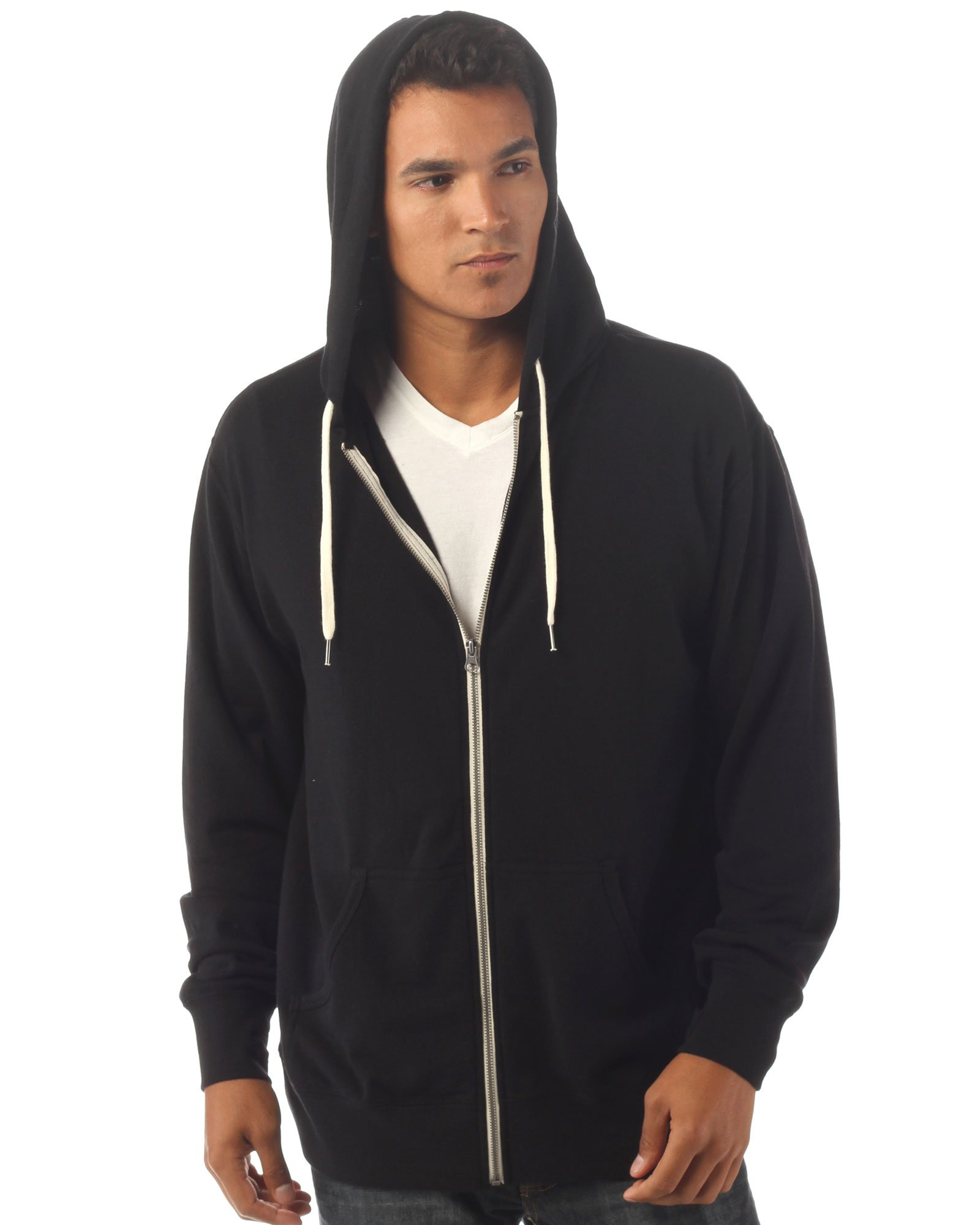 Slim Fit French Terry Lightweight Zip up Hoodie for Men and Women S Solid Black