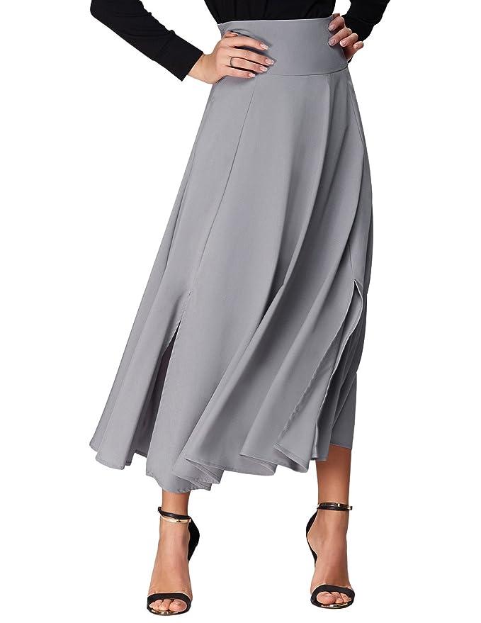 ec9088d4e61ea5 Belle Poque Long Maxi Skirt for Women Ankle Length Flared Skirt Size 2XL at  Amazon Women's Clothing store: