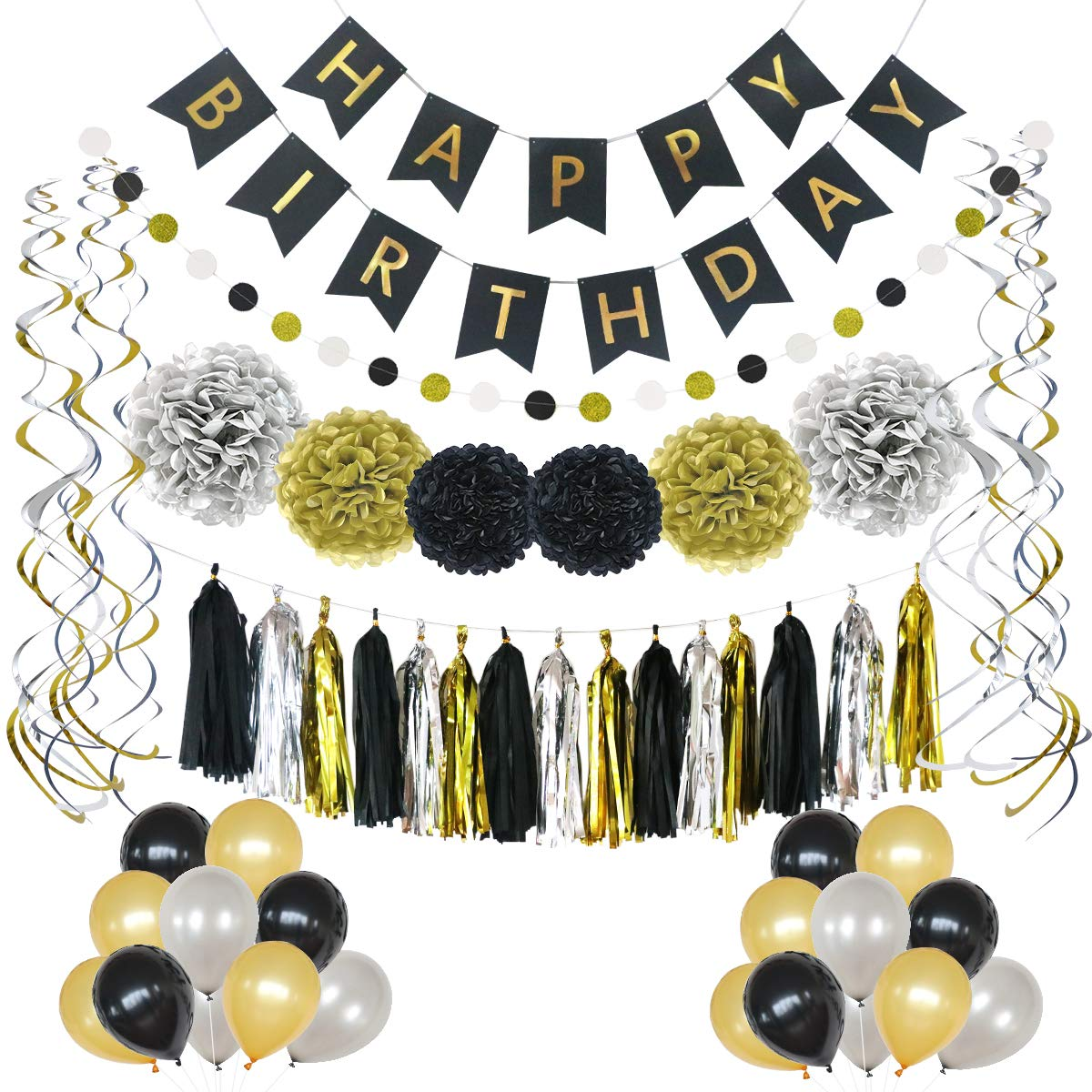 LITAUS Birthday Decorations, Black and Gold Party Supplies, Serves 59, Includes Happy Birthday Banner, Party Balloons, Hanging Swirls, Garland, Tassels, Paper Flowers for Parties, Baby Shower