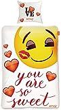 """Original Emoji Wende Bettwäsche """" Motiv Sweet Hearts """" 135 cm x 200 cm + 80 cm x 80 cm Neu & Ovp - 100% Baumwolle - Emojis Wendebettwäsche"""
