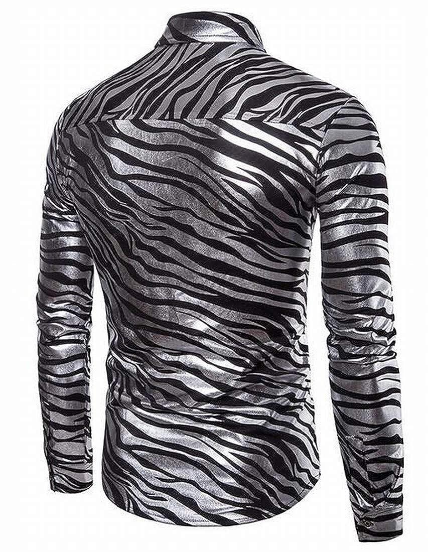 DFBB Mens Long Sleeve Animal Printing Regular Fit Button Down Button Down Dress Work Shirt