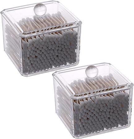 LoveBB 2 Unidades Q-Tips Organizador de Almacenamiento de acrílico Bote para Bola de algodón, hisopo de algodón, esponjas de Maquillaje, Joyas: Amazon.es: Hogar
