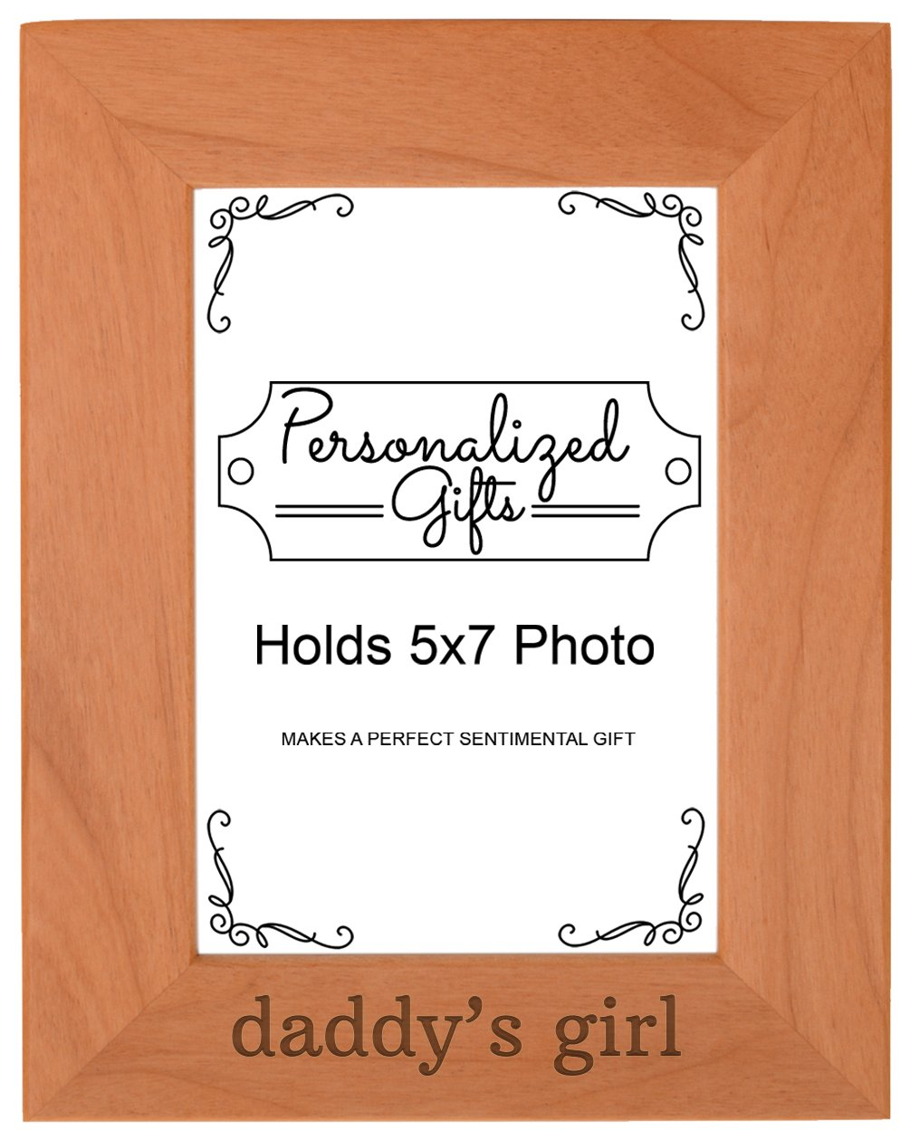 Personalized Gifts Daddy's Girl Baby Daughter Natural Wood Engraved 5x7 Portrait Picture Frame Wood