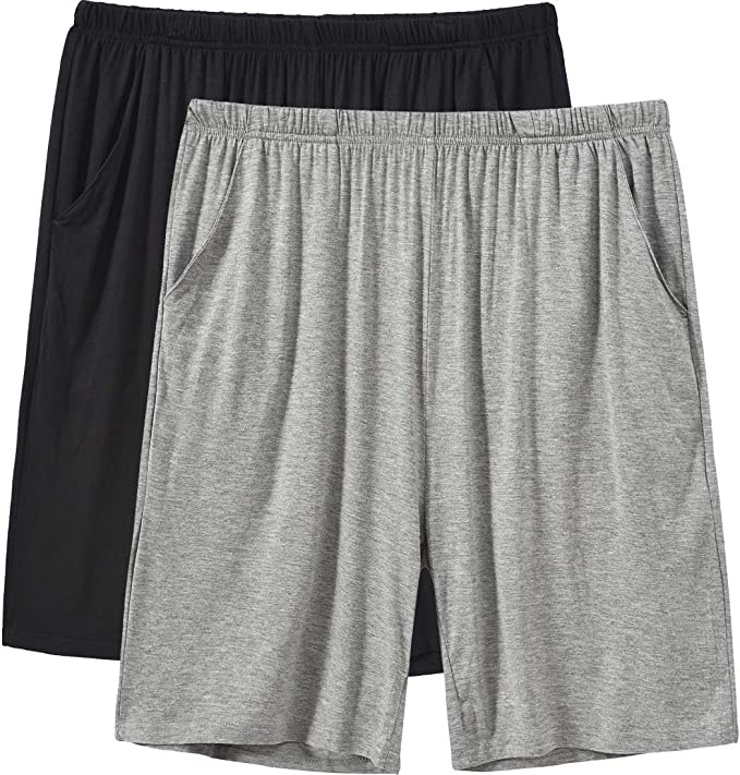 Classic Mens Pajama Lounge Sleep Cotton Shorts Elastic Waist Workout Sport Shorts with Pockets
