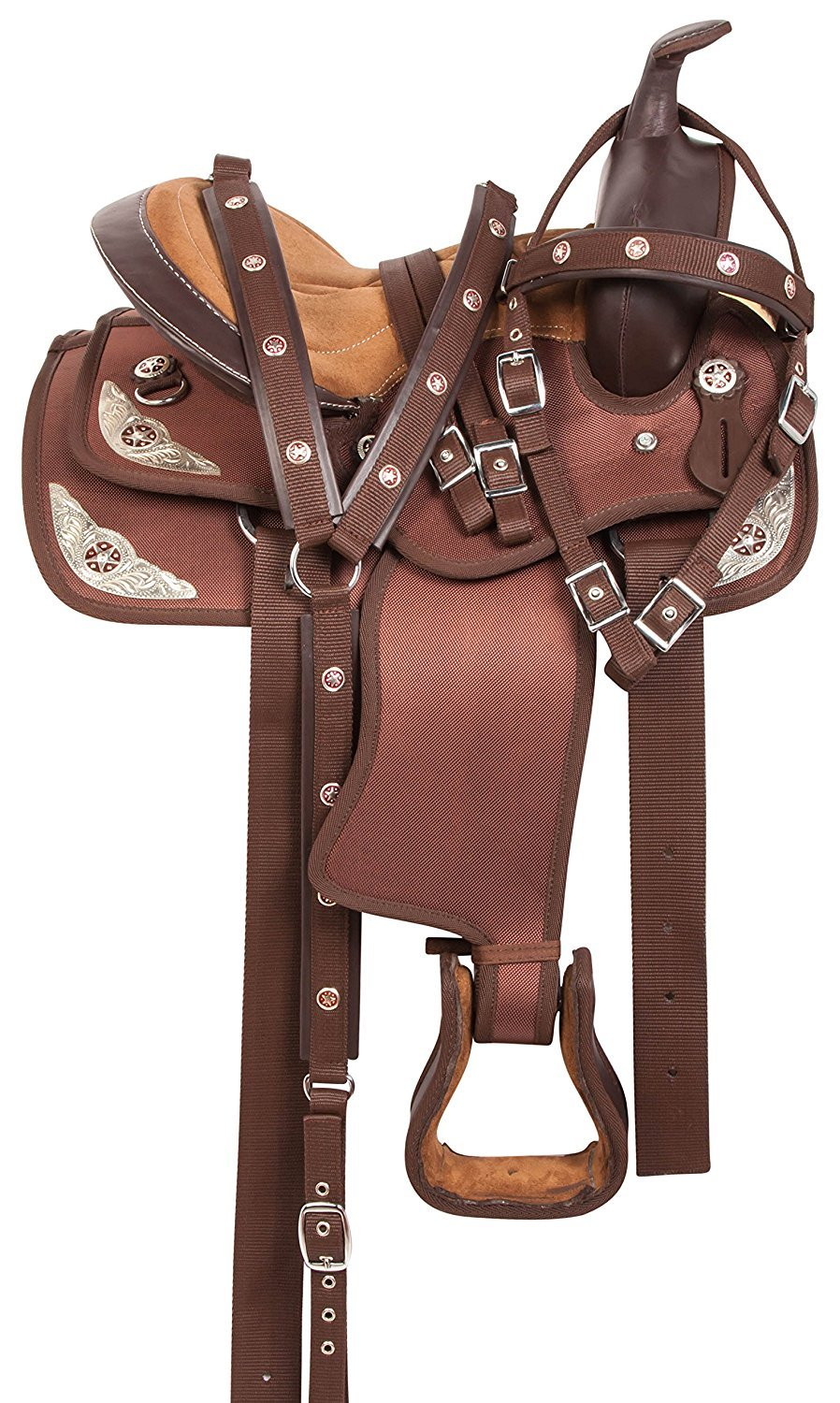 Brown 18 Inch SeatManaal Enterprises Synthetic Western Horse Saddle Barrel Racing Tack + Headstall, Breast Collar Size 15  to 18  Inch Seat Available