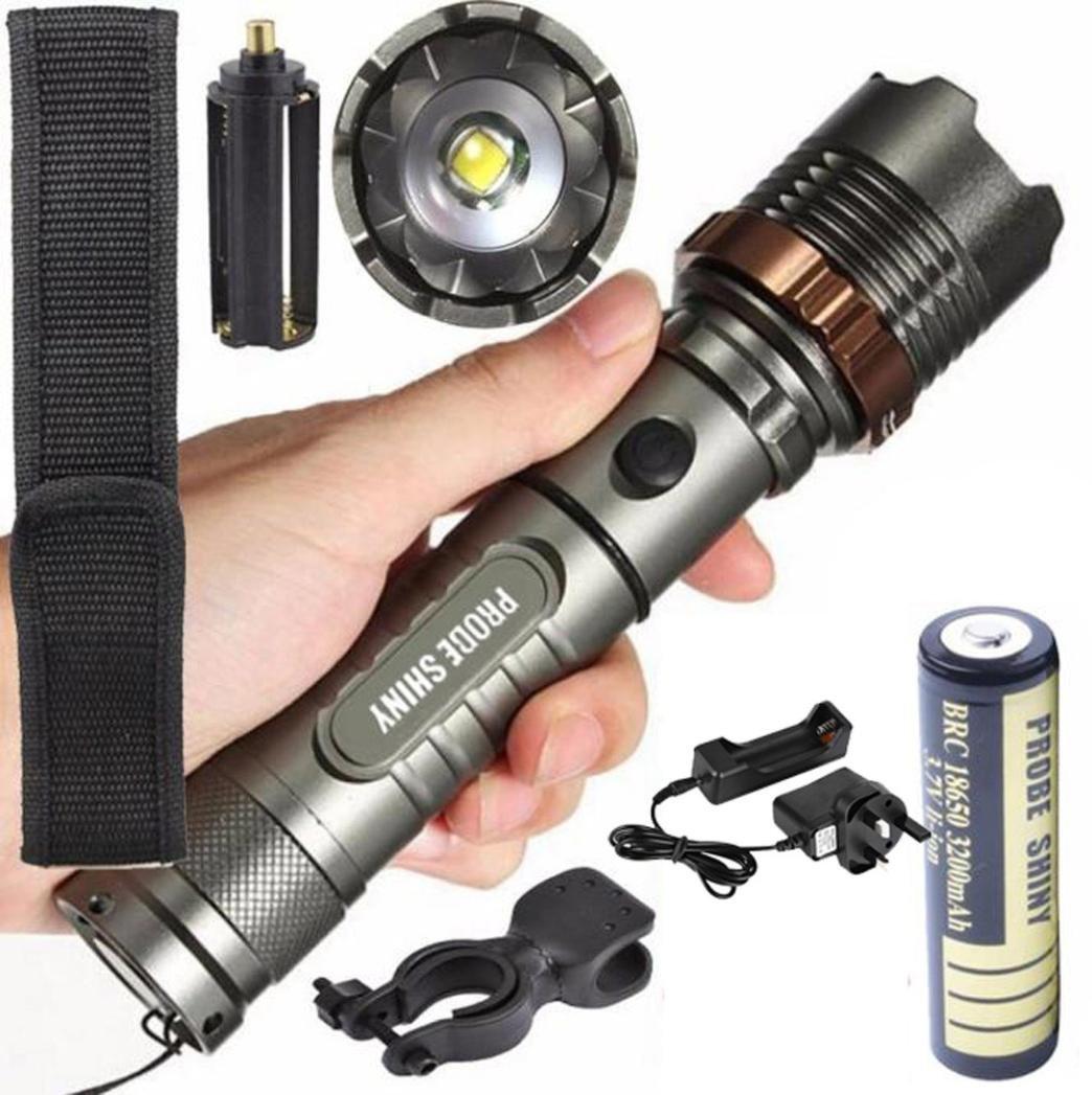 Linterna LED, Xinan Linterna Táctica 5000LM XM-L T6 LED Zoomable Antorcha Plata (Lámpara + Batería + Cargador) Xinantime Xinantime_3439