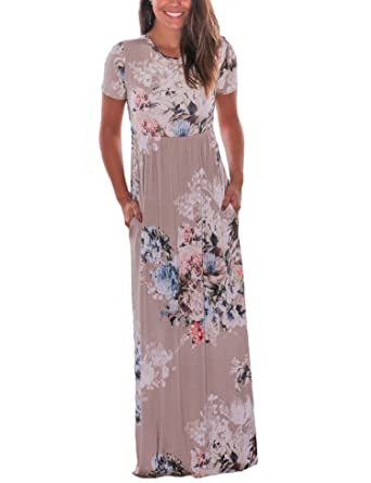 a9adc4911f0e Vemper Floral Print Maxi Dress Short Long Sleeve Pockets Long Casual Dress  at Amazon Women s Clothing store