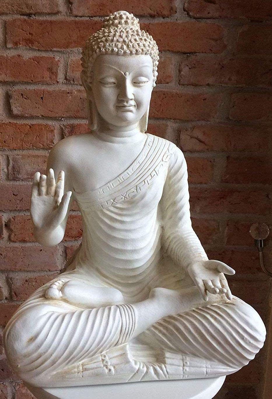 Buda Thai Buda Color Blanco Crema imitación Medi Animales Meditación Ruhe Fuerza Jardín Decoración Exterior heladas: Amazon.es: Jardín