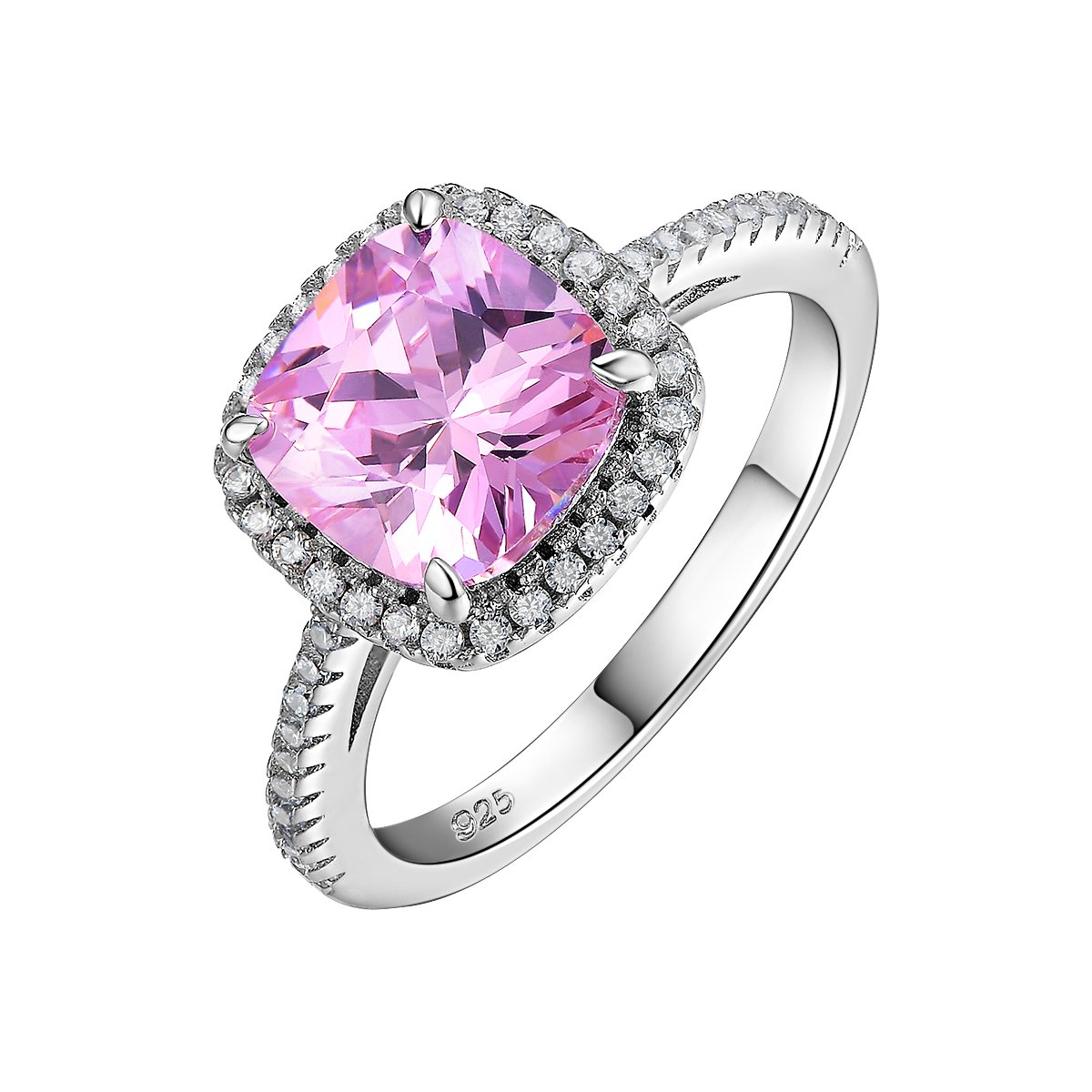 Newshe 2.13ct Cushion Created Pink Sapphire 925 Sterling Silver Gemstone Ring Anniversary Size 5