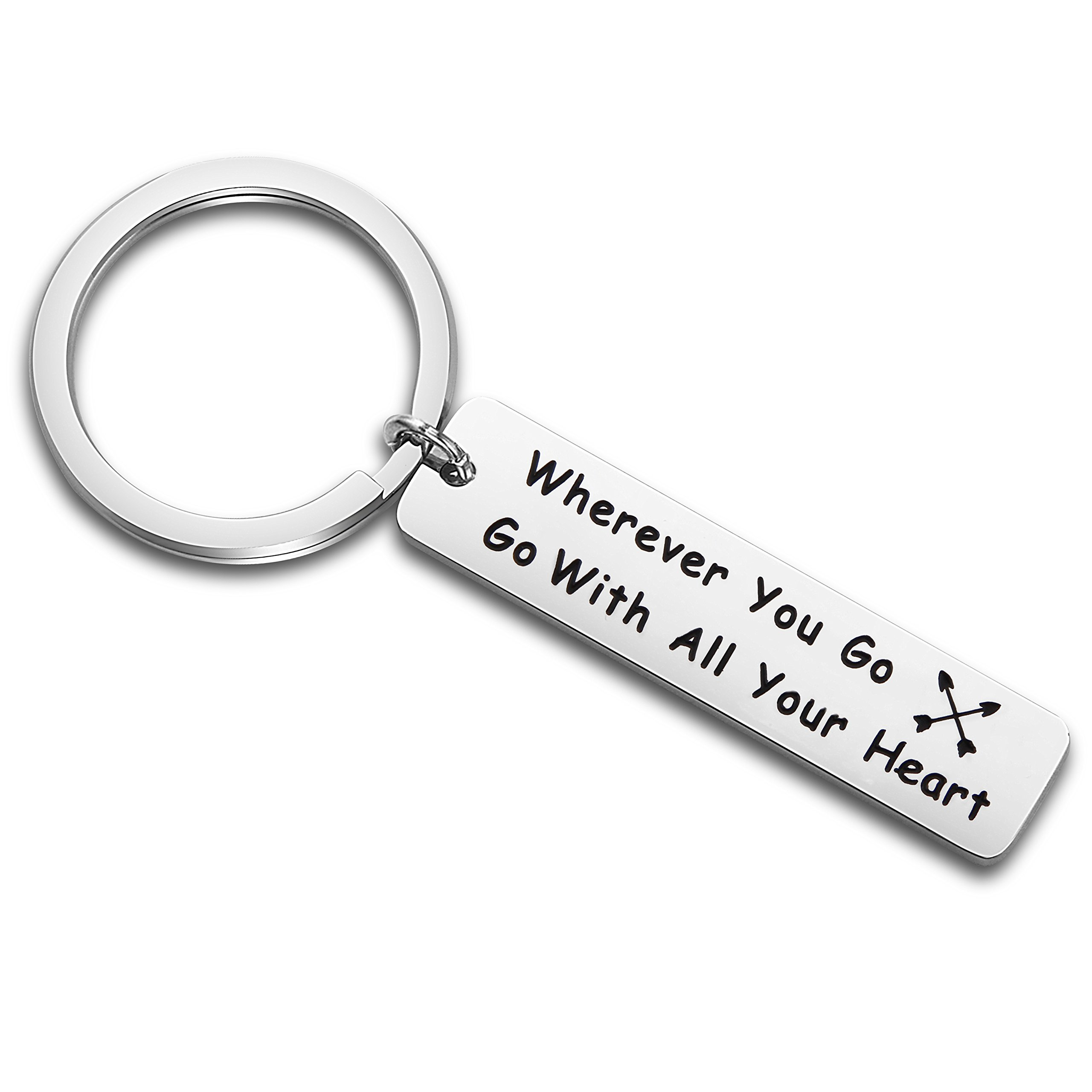 QIIER Travel Keychain Wherever You Go Go with All Your Heart Keychain Going Away Gift Travel Gift Graduation Gift (silver)