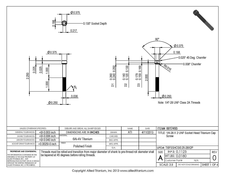 Pack of 5 673865001 1//4-28 X 2 UNF Socket Head Cap Screw Grade 5 Ti-6Al-4V Inc Allied Titanium 0017493,