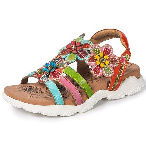 Gracosy Verano Sandalias Zapatos Planas Hook Loop De Mujer WD29EIH