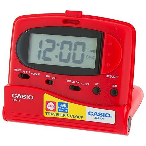 Casio TQ-12-4E - Despertador de viaje digital - Alarma, Repetición,