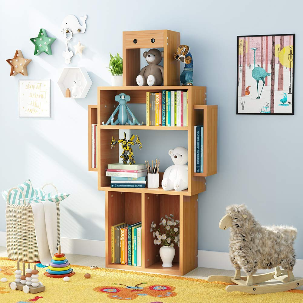 Tribesigns 4-Shelf Kids Wooden Bookcase with Storage, Original Bookcase with Robot Molding, Beech